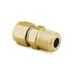 """Male Connector 1/8"""" tube - 1/4"""" NPT, Brass"""