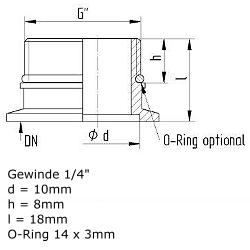 """KF Flange DN10 w. pipe thread G1/4"""" w. O-Ring"""
