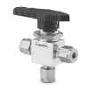 "SS 1-Piece 40 Series 3-Way Ball Valve, 1/4"" Swagel"