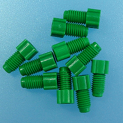 Nut, PP, flanged green 1/16'', 1/4''-28, 10/pk